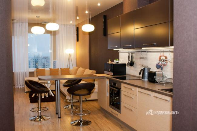 Кухня-гостиная дизайн фото с диваном